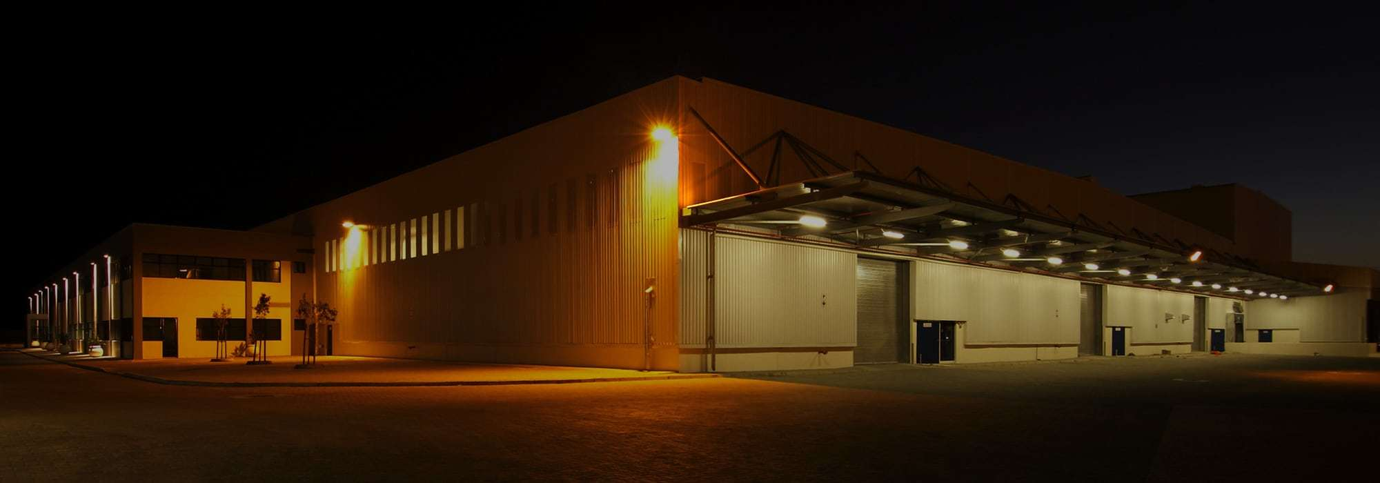 commercial facility lit up at night